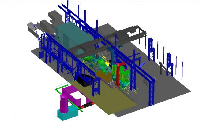 Industrial plan machinery 3d design cad drawing details dwg file