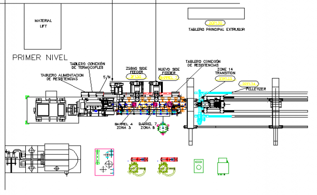 Industrial plan machinery electric installation details dwg file