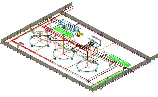 Industrial plant 3 d tank farm plan detail