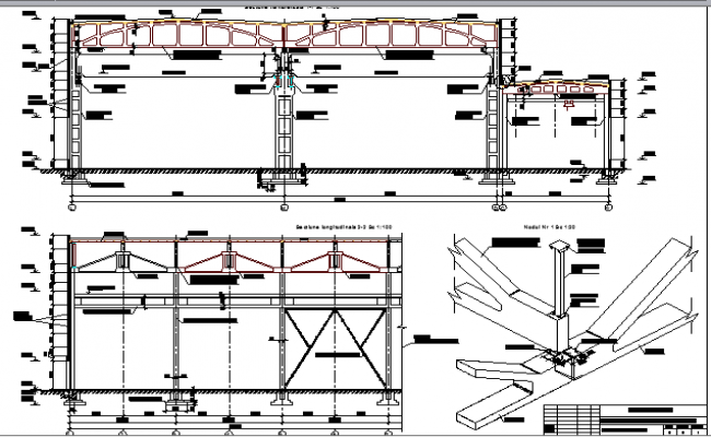 Industrial plant building section with wall construction details dwg file