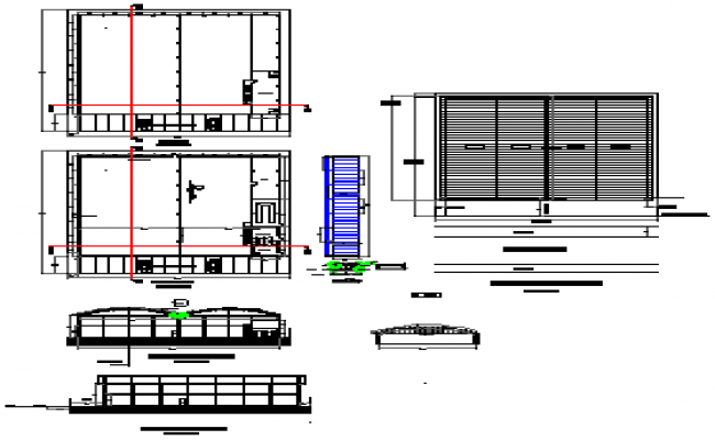 Industrial shed details of metallic cover structure design drawing