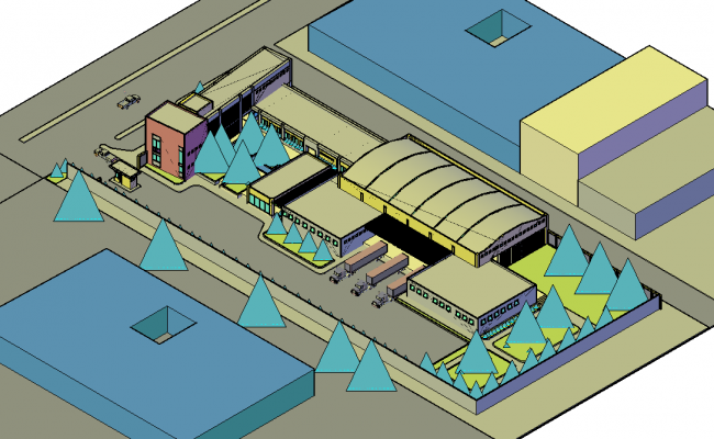 Industry project In 3 d plan view detail dwg file