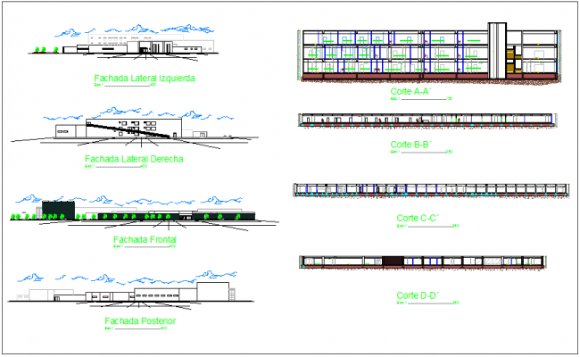 Infection specialist clinic different axis elevation and section view dwg file