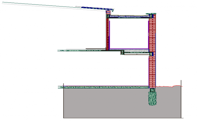 Infill housing party wall floors ceilings finishes metal roof details dwg file