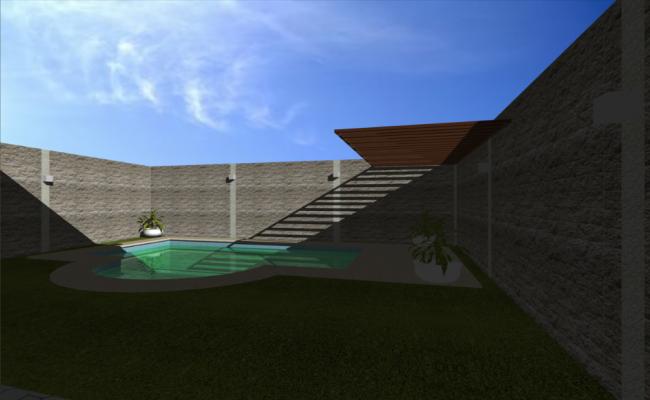 Inner pool view of bungalow