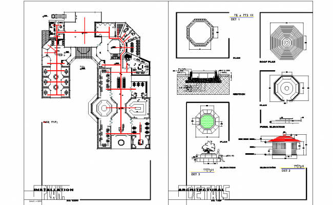 Installation and architectural plan dwg file
