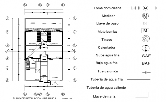 Installation hydraulic house plan detail layout file