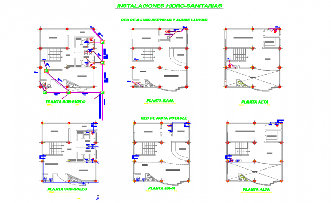 Installation hydro-sanitary plan layout file
