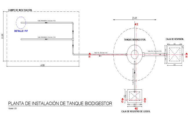 Installation infiltration layout plan detail dwg file