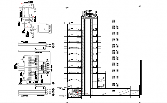 Installation of hot and cold in buildings plan detail dwg.