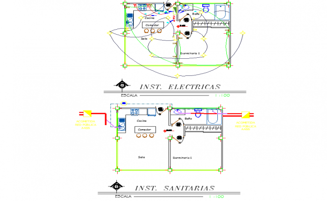 Installation sanitary and electrical house plan layout file