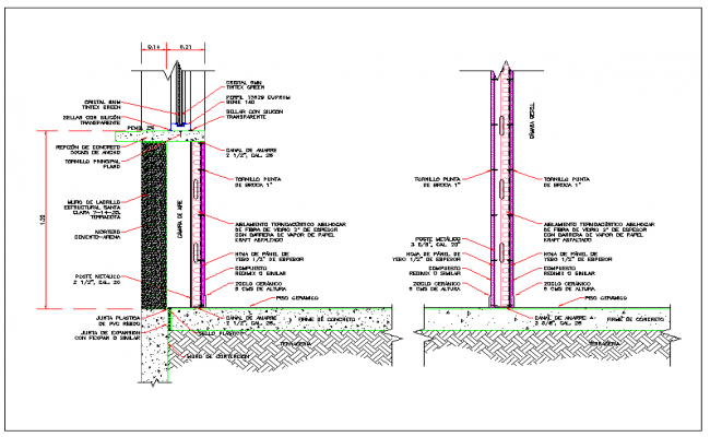 Insulating wall section view detail dwg file
