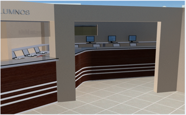 Interior 3d design details of corporate office dwg file