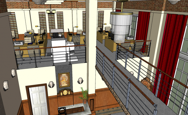 Interior 3d view of office skp file