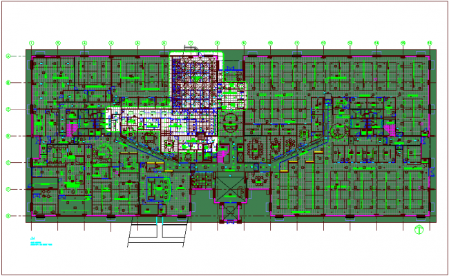 Interior design of bank with architectural plan dwg file