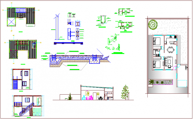 Interior design of house with plan and section view dwg file