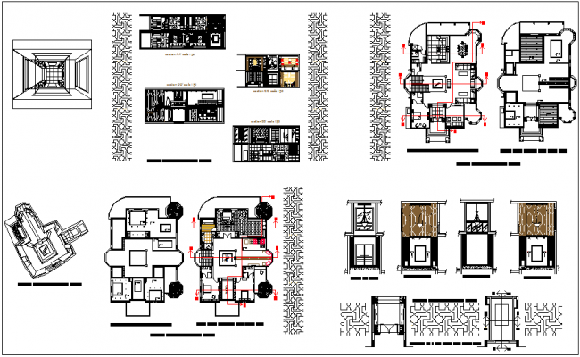 Interior design view of house with floor plan and furniture plan and sectional detail view dwg file