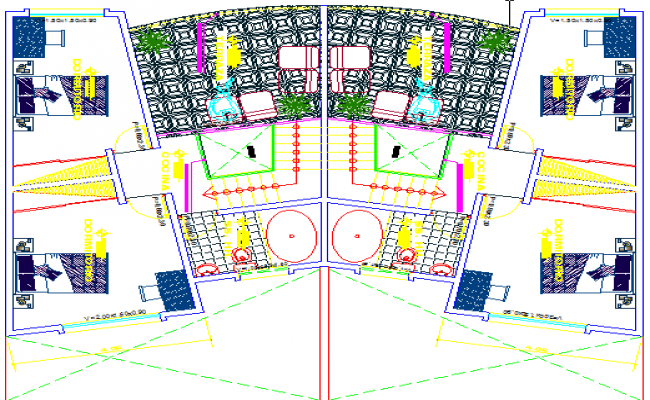 Interior detail of  house dwg file