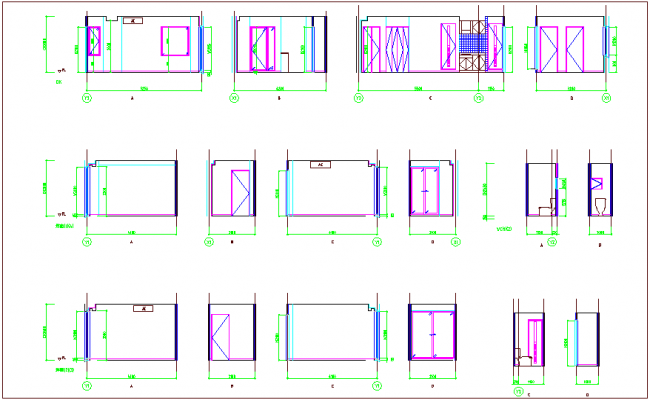 Interior detail view of residence dwg file