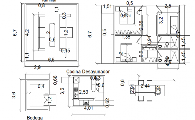 Interior detail with measurements dwg file