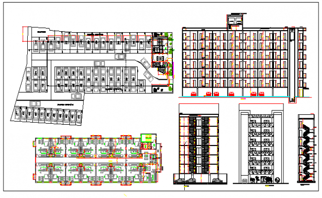 Interior floor plan and exterior elevation of a residential building dwg file