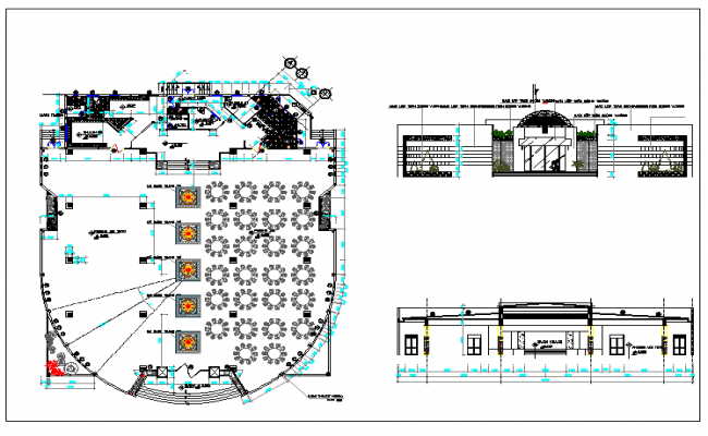 Interior floor plan of a cafe dwg file
