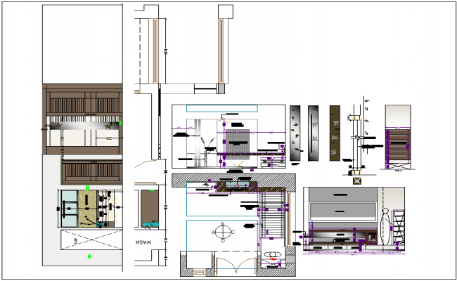 Interior furniture of elevation view and side elevation view dwg file
