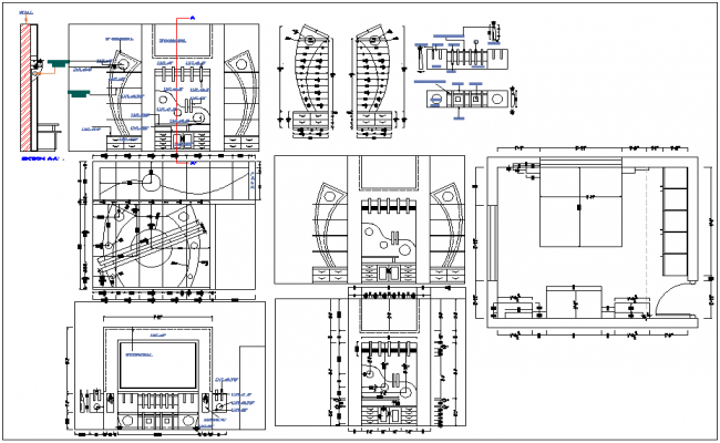Interior furniture view of resident detail dwg file