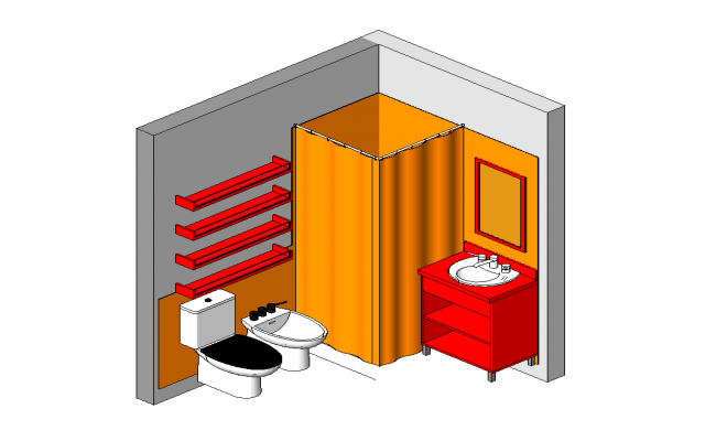 Interior of sanitary toilet structure detail elevation 3d model 3d max file