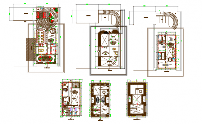 Interior sections of House layout plan dwg file