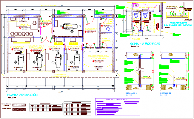 Interior view of dentistry for hospital plan with detail view dwg file