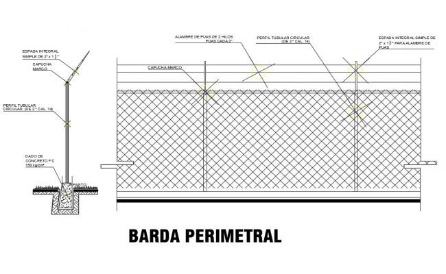 Iron perimeter fence section and construction details dwg file