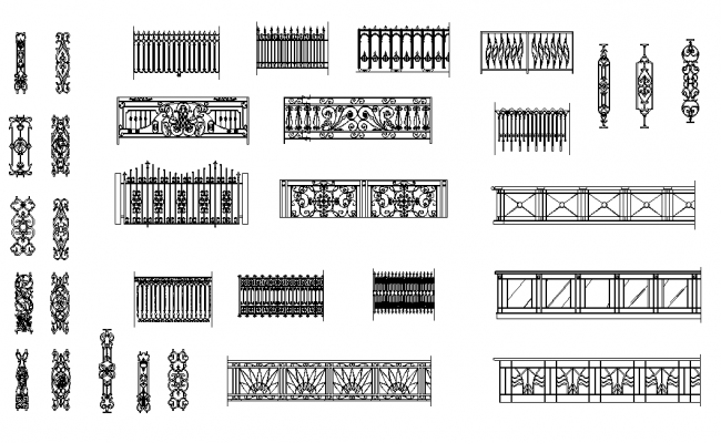 Iron railing design dwg file