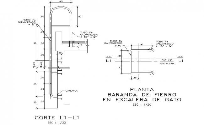 Iron railing plant cat ladder detail dwg file