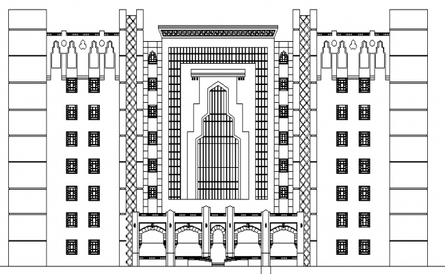 Islamic Hospital Architecture Design and Elevation dwg file