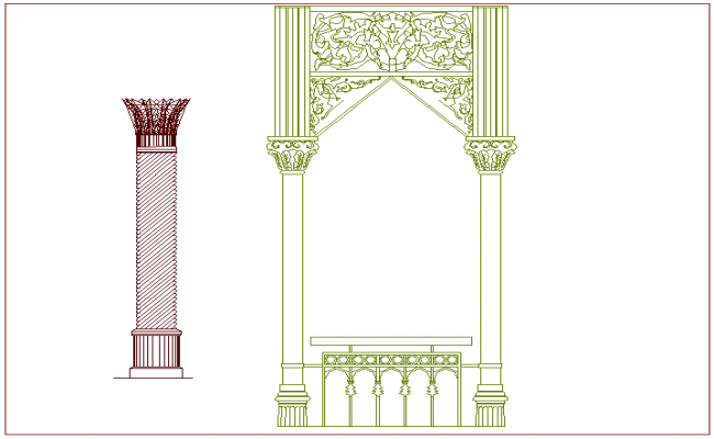 Islamic art door design view with designer column view dwg file