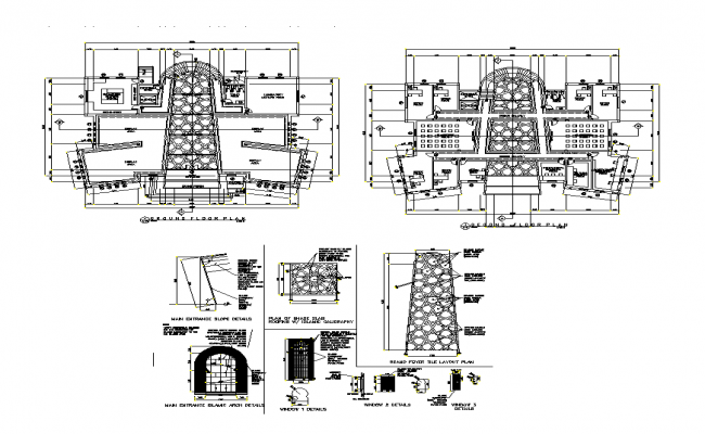 Islamic style museum detail elevation layout plan