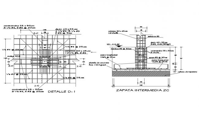 Isolated footing construction details with wall cad drawing details dwg file