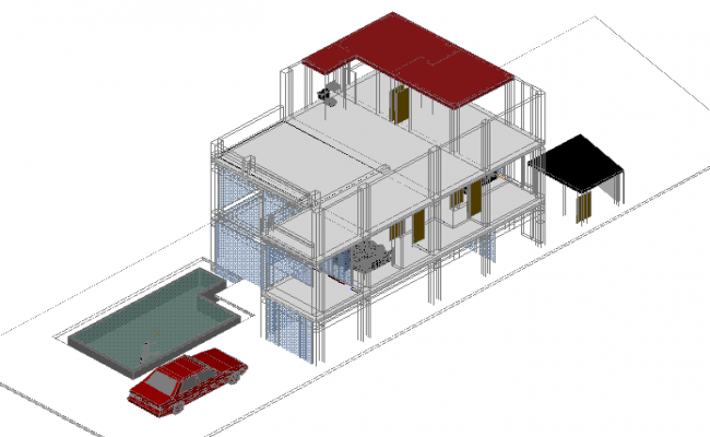 Isometric 3 D view detail dwg file