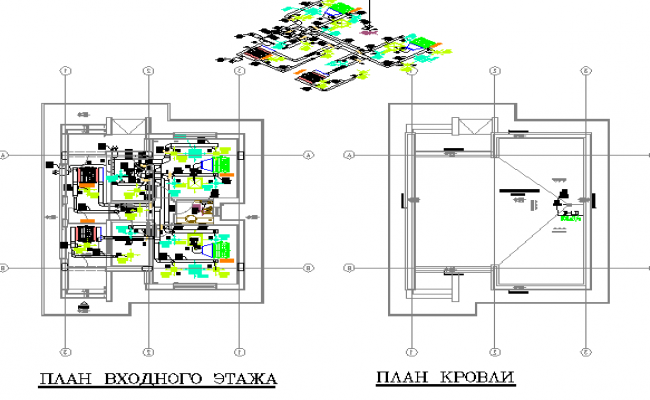 Isometric and 2d floor plan layout details of corporate office dwg file