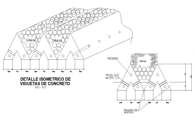 Isometric concrete joists detail dwg file