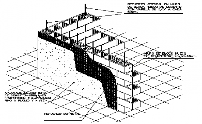 Isometric design of wall block detail drawing
