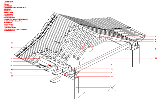 Isometric detail of roof knot