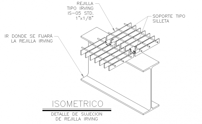 Isometric irving grid fastening detail dwg file
