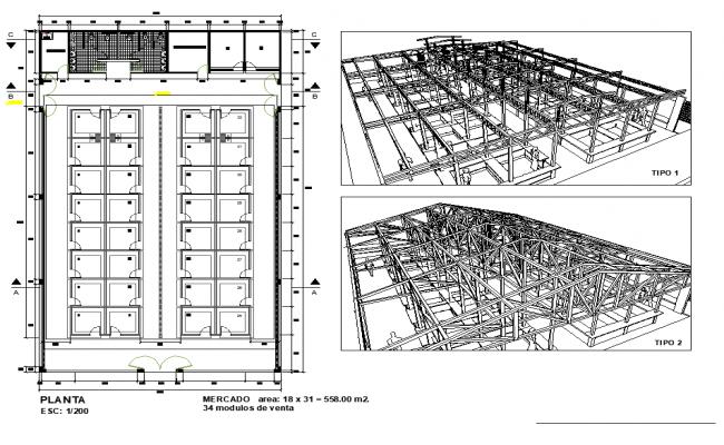 Isometric market plan layout file