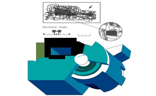Isometric plan view and layout plan details of commercial complex dwg file