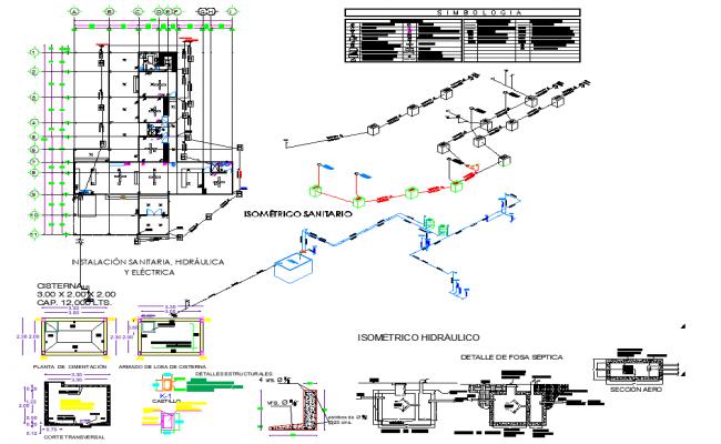 Isometric sanitary hydraulic plan dwg file