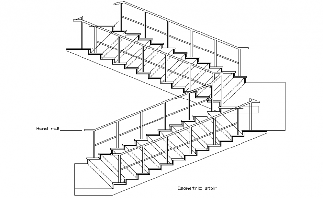 Isometric stair view detail dwg file