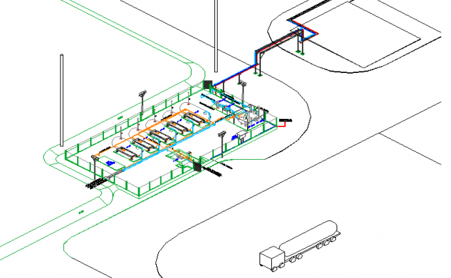 Isometric view details of industrial plant dwg file