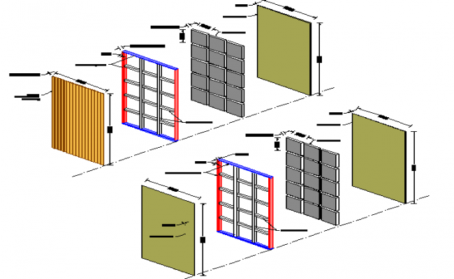Isometric view details of window installation of house dwg file
